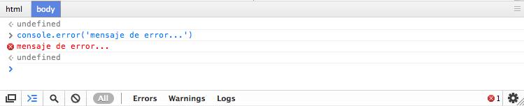 Mensaje utilizando error visualizado en la consola