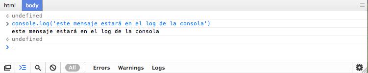 Mensaje utilizando log visualizado en la consola