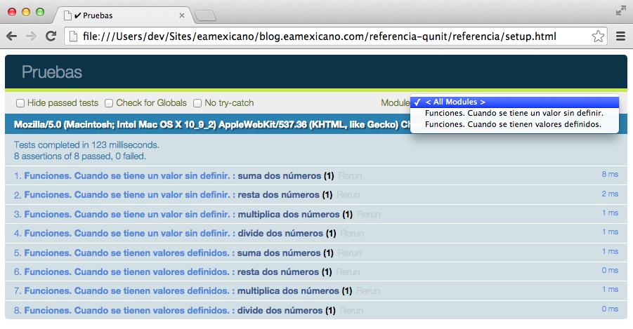 Visualización de qunit en el navegador.