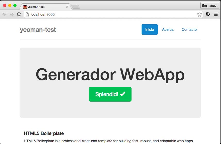 Yeoman webapp en navegador con LiveReload