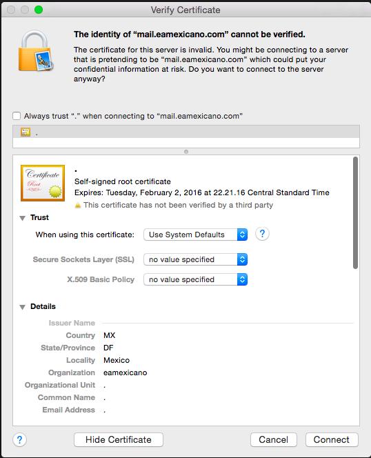 Advertencia de seguridad en Apple Mail