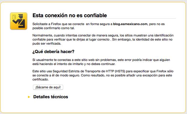 Advertencia Firefox