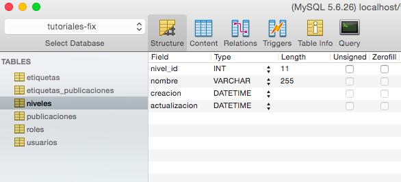 Modificar el nombre de las columnas en la tabla niveles