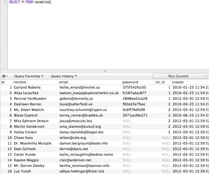 Todos los registros de la tabla usuarios.