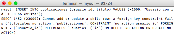 Crear - Integridad referencial restrict no action